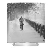 Pioneering The Alley - Featured 3 Shower Curtain by Alexander Senin