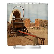 Pionner Wagon Shower Curtain by Jeff Swan