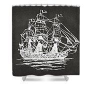 Pirate Ship Artwork - Gray Shower Curtain by Nikki Marie Smith