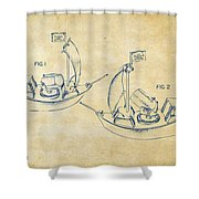 Pirate Ship Patent Artwork - Vintage Shower Curtain by Nikki Marie Smith