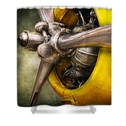 Plane - Pilot - Prop - Twin Wasp Shower Curtain by Mike Savad