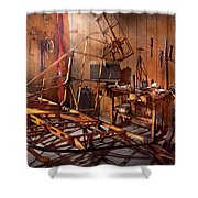 Plane - The Dawn Of Aviation Shower Curtain by Mike Savad