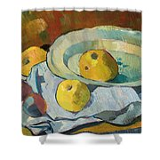 Plate Of Apples Shower Curtain by Paul Serusier