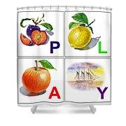 Play Art Alphabet For Kids Room Shower Curtain by Irina Sztukowski