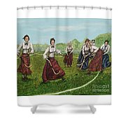 Play Of Yesterday Shower Curtain by Linda Simon