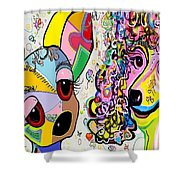 Playful Pups Shower Curtain by Eloise Schneider