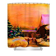 Playing Until The Sun Sets Shower Curtain by Carole Spandau