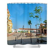 Plaza In Mompox Shower Curtain by Jess Kraft