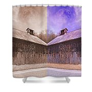 Pleasant View Country Barns Shower Curtain by Betsy C  Knapp