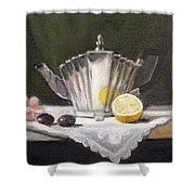 Pleated Teapot with Lemon Shower Curtain by Sarah Parks