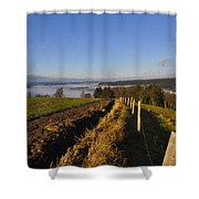 Plowed Field Shower Curtain by Aged Pixel