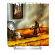 Plumber - The Wash Basin Shower Curtain by Mike Savad
