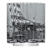Pnct Facility In Port Newark-elizabeth Marine Terminal II Shower Curtain by Clarence Holmes