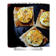 Poached Eggs On A Raft Shower Curtain by Andee Design