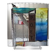 Poet Windowsill Box Shower Curtain by Karin Thue
