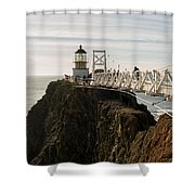 Point Bonita Lighthouse Shower Curtain by Georgia Fowler