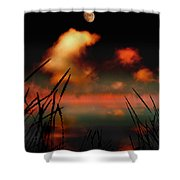 Pointing At The Moon Shower Curtain by Mal Bray