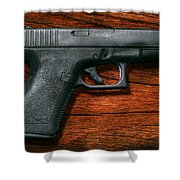 Police - Gun - The Modern Gun  Shower Curtain by Mike Savad