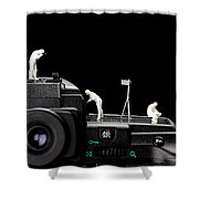 Police Investigate On A Camera Shower Curtain by Paul Ge