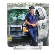 Police - Policeman By Patrol Car Shower Curtain by Susan Savad