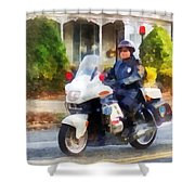 Police - Suburban Motorcycle Cop Shower Curtain by Susan Savad