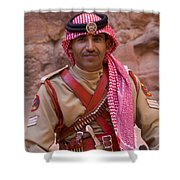 Policeman In Petra Jordan Shower Curtain by David Smith