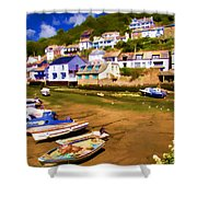 Polperro At Low Tide Shower Curtain by David Smith
