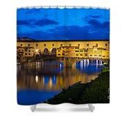 Ponte Vecchio Reflection Shower Curtain by Inge Johnsson