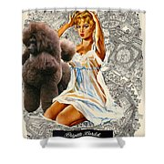 Poodle Art - Una Parisienne Movie Poster Shower Curtain by Sandra Sij