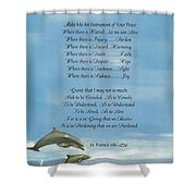 Pope Francis St. Francis SIMPLE PRAYER Dance of the Dolphins Shower Curtain by Desiderata Gallery