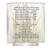 Pope Francis St. Francis Simple Prayer Lilly Of The Valley Shower Curtain by Desiderata Gallery