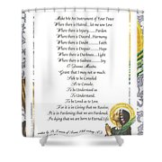 Pope Francis St. Francis Simple Prayer Purity Shower Curtain by Desiderata Gallery