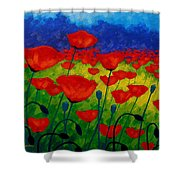 Poppy Corner II Shower Curtain by John  Nolan