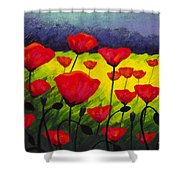 Poppy Corner IIi Shower Curtain by John  Nolan