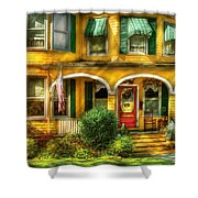 Porch - Cranford Nj - A Yellow Classic  Shower Curtain by Mike Savad