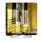 Porch - Long Afternoon Shadow Of Rocking Chair Shower Curtain by Susan Savad