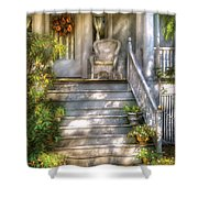 Porch - Westfield Nj - Grannies Porch  Shower Curtain by Mike Savad