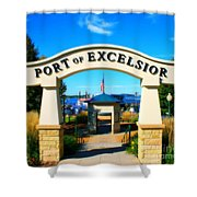 Port of Excelsior Shower Curtain by Perry Webster