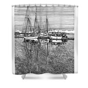 Port Orchard Reflections Shower Curtain by Jack Pumphrey