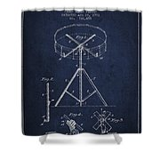 Portable Drum Patent Drawing From 1903 - Blue Shower Curtain by Aged Pixel