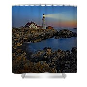 Portland Head Light Sunrise Shower Curtain by Susan Candelario