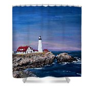 Portland Head Lighthouse Shower Curtain by Jack Skinner