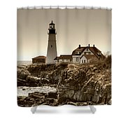 Portland Head Lighthouse Shower Curtain by Joann Vitali