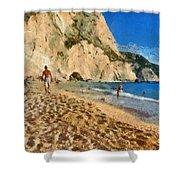 Porto Katsiki Beach In Lefkada Island Shower Curtain by George Atsametakis