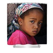 Portrait Of A Berber Girl Shower Curtain by Ralph A  Ledergerber-Photography