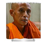 Portrait Of A Buddhist Monk Yangon Myanmar Shower Curtain by Ralph A  Ledergerber-Photography