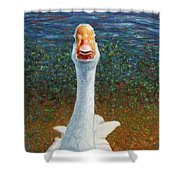Portrait Of A Goose Shower Curtain by James W Johnson