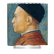 Portrait Of A Man Shower Curtain by Andrea Mantegna