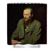 Portrait Of Fyodor Dostoyevsky Shower Curtain by Vasili Grigorevich Perov