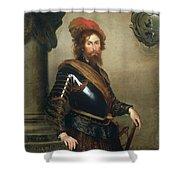 Portrait Of Nicolo Raggi Shower Curtain by Bernardo Strozzi